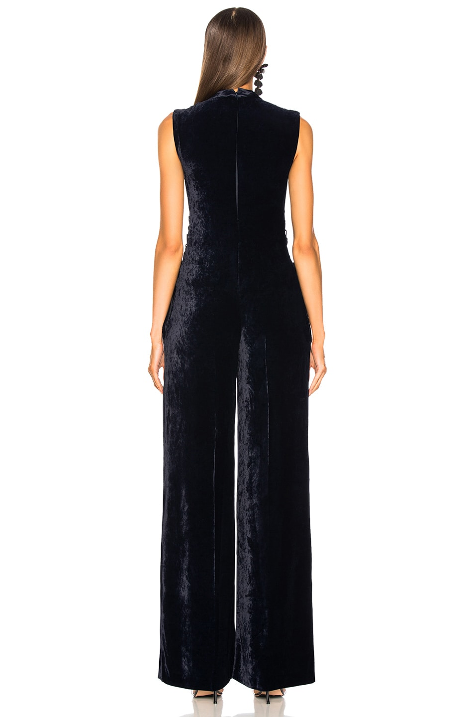 Image 4 of Stella McCartney Sleeveless Velvet Jumpsuit in Ink