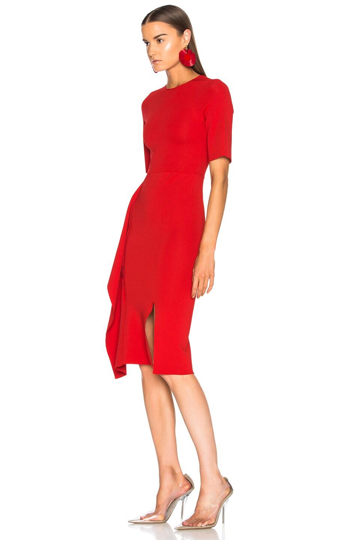 Image 3 of Stella McCartney Short Sleeve Midi Dress in Lipstick