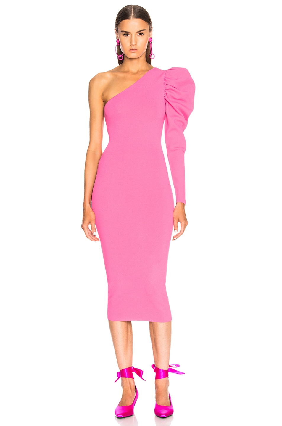 Image 1 of Stella McCartney One Shoulder Puff Sleeve Dress in Bright Pink
