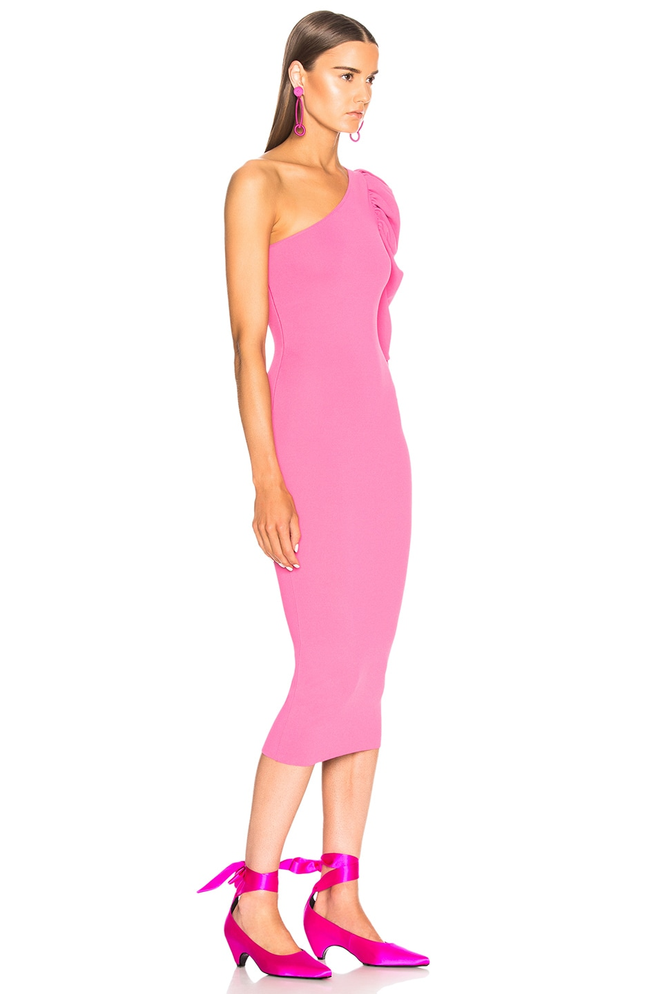 Image 2 of Stella McCartney One Shoulder Puff Sleeve Dress in Bright Pink