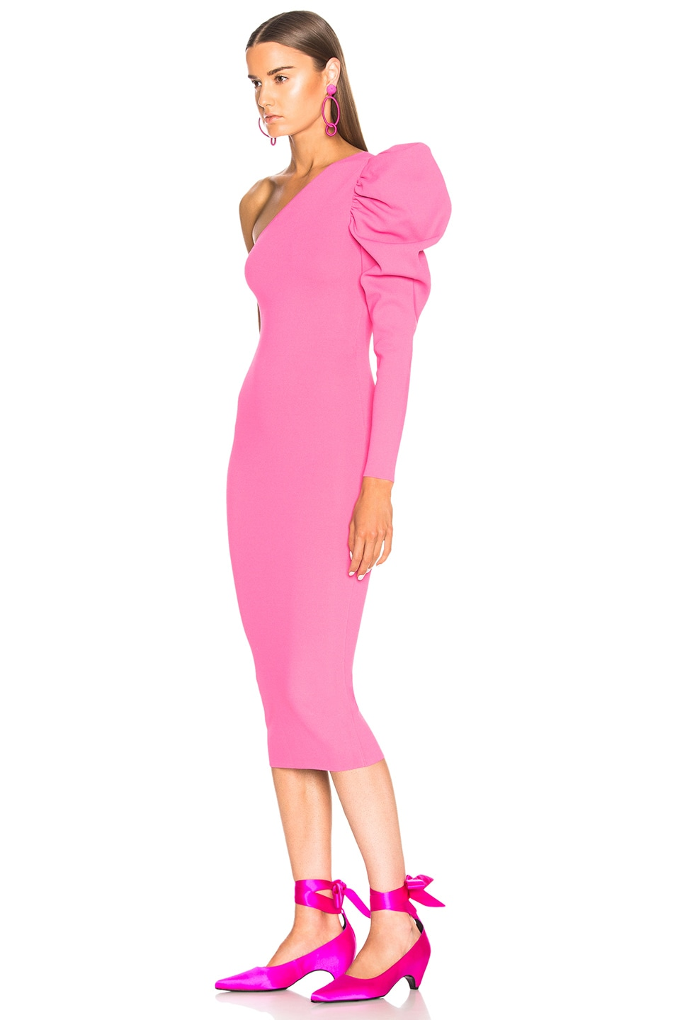 Image 3 of Stella McCartney One Shoulder Puff Sleeve Dress in Bright Pink