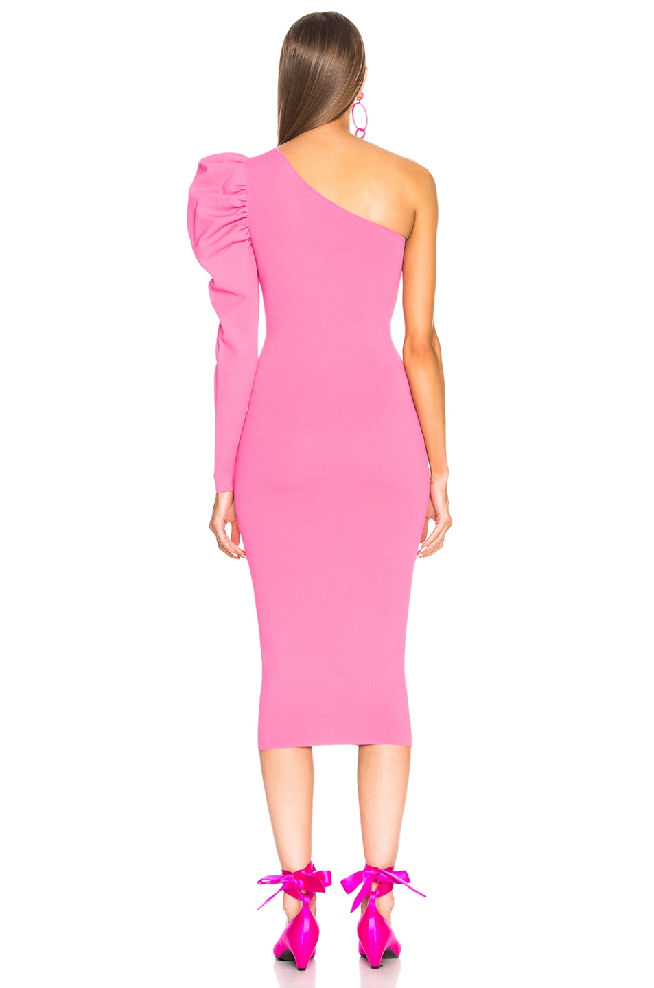 Image 4 of Stella McCartney One Shoulder Puff Sleeve Dress in Bright Pink