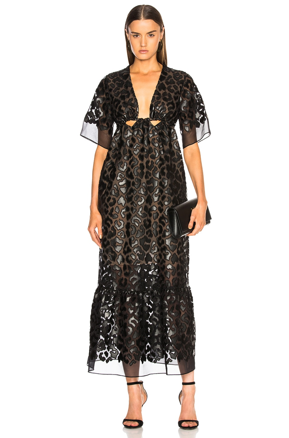 Stella McCartney Leopard Print Burnout Plunging Gown in Black
