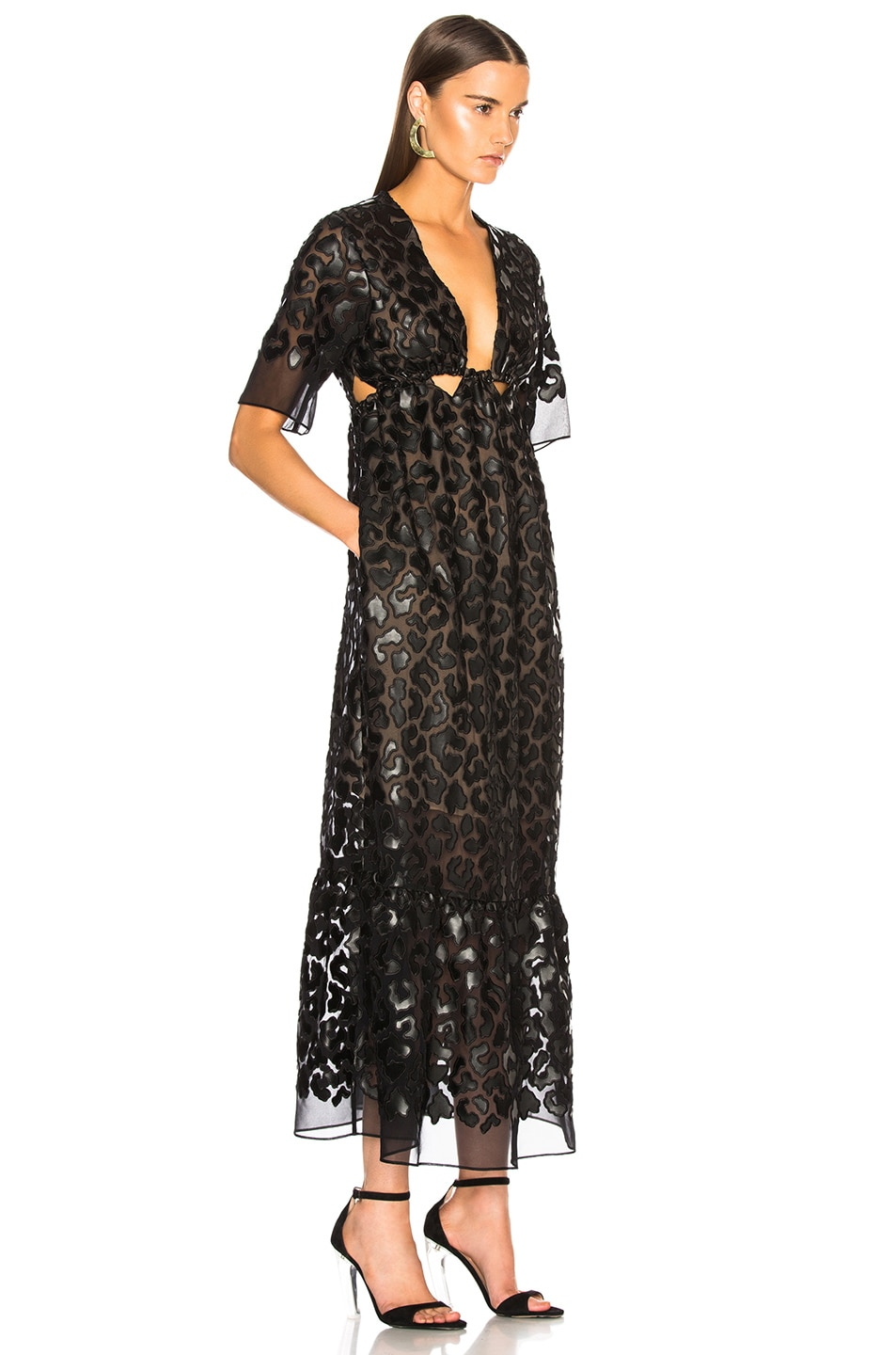Image 2 of Stella McCartney Leopard Print Burnout Plunging Gown in Black
