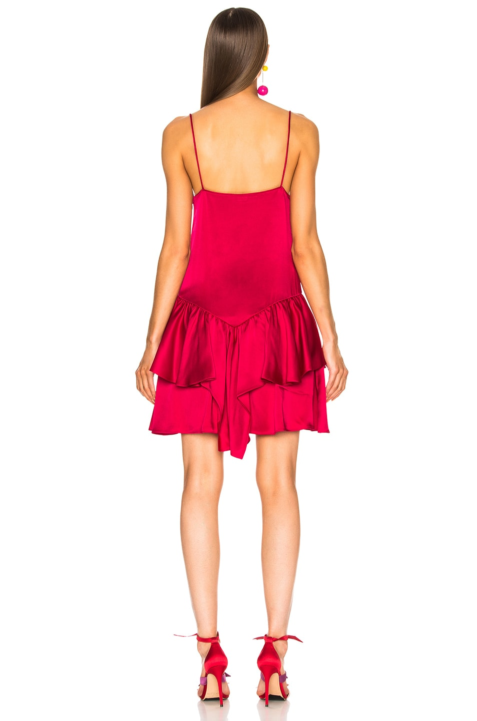 Image 3 of Stella McCartney Peplum Sleeveless Mini Dress in Fuchsia Pink