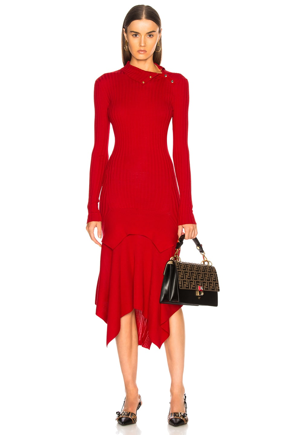 Image 1 of Stella McCartney Handkerchief Hem Long Sleeve Midi Dress in Lover Red