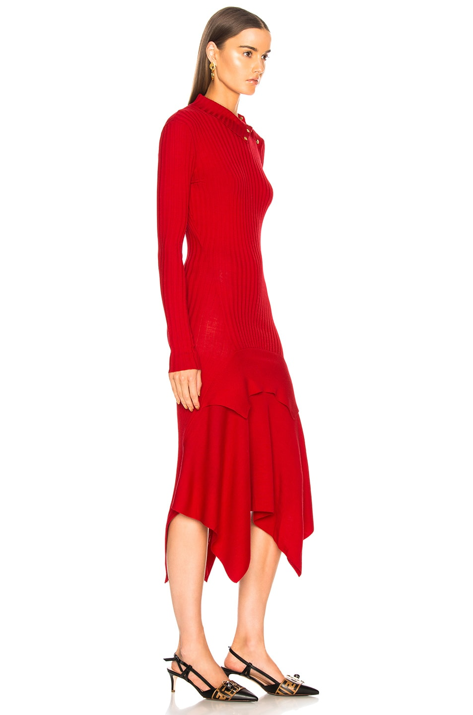 Image 2 of Stella McCartney Handkerchief Hem Long Sleeve Midi Dress in Lover Red