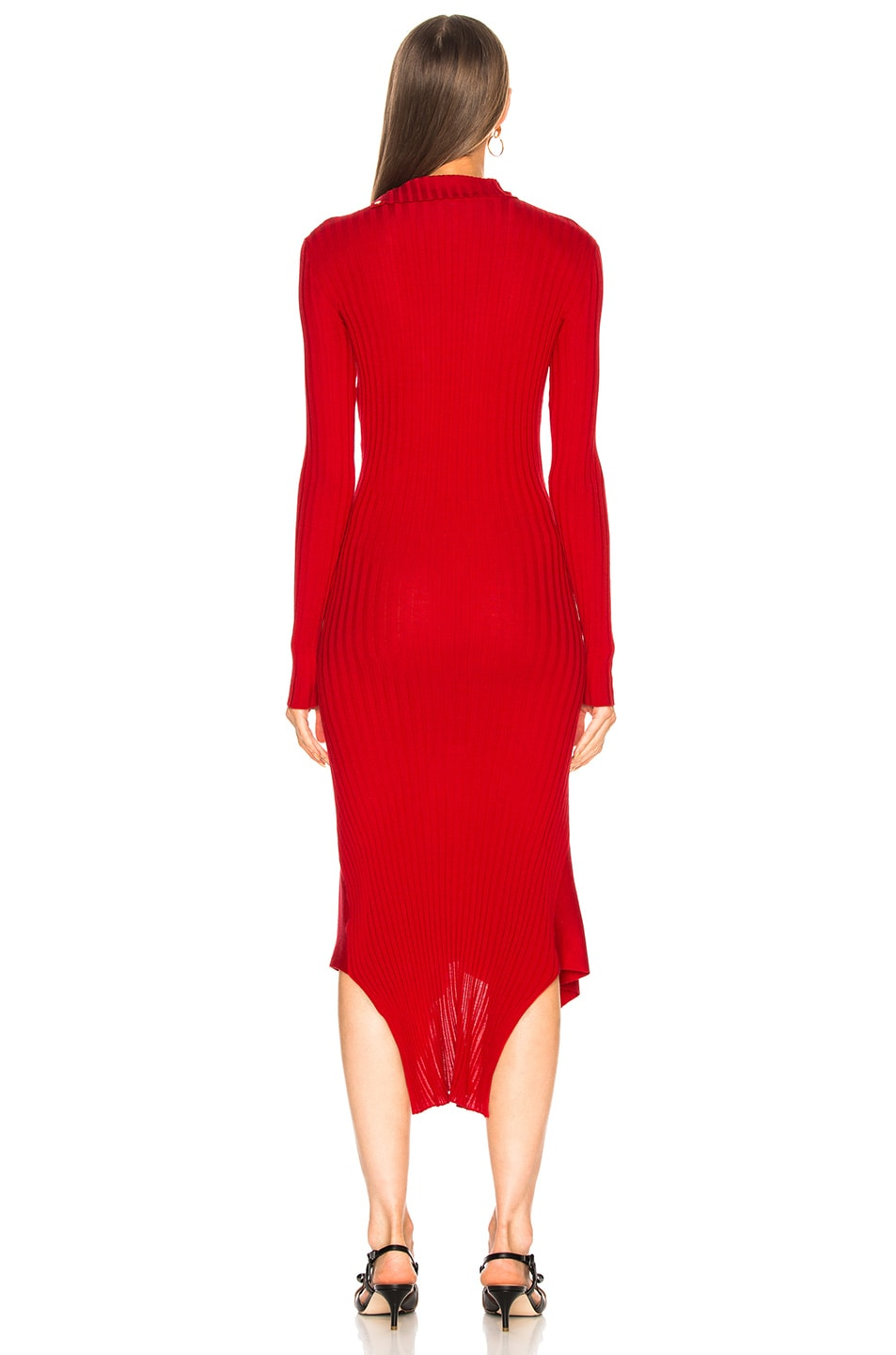 Image 4 of Stella McCartney Handkerchief Hem Long Sleeve Midi Dress in Lover Red