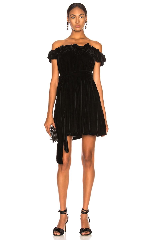 Image 1 of Stella McCartney Miya Velvet Off Shoulder Dress in Black
