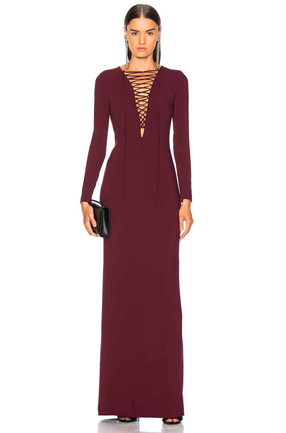 Image 1 of Stella McCartney Lace Up Maxi Dress in Bordeaux
