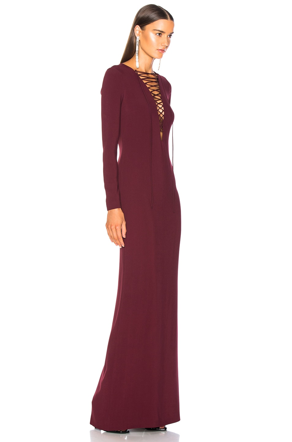 Image 2 of Stella McCartney Lace Up Maxi Dress in Bordeaux