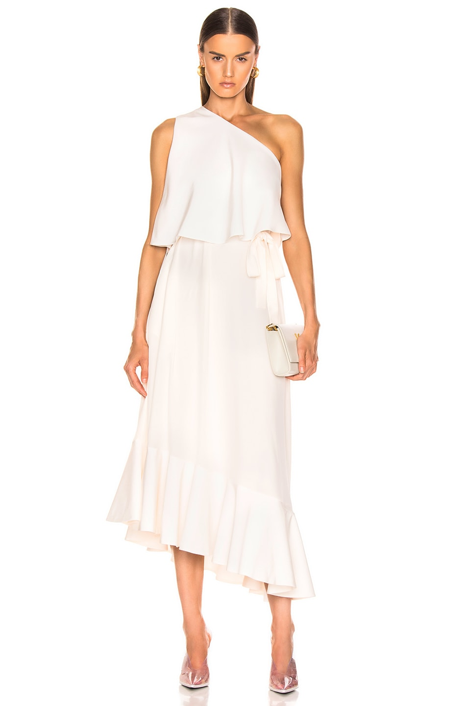 Image 1 of Stella McCartney One Shoulder Dress in White
