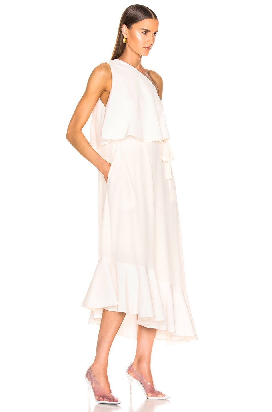Image 3 of Stella McCartney One Shoulder Dress in White