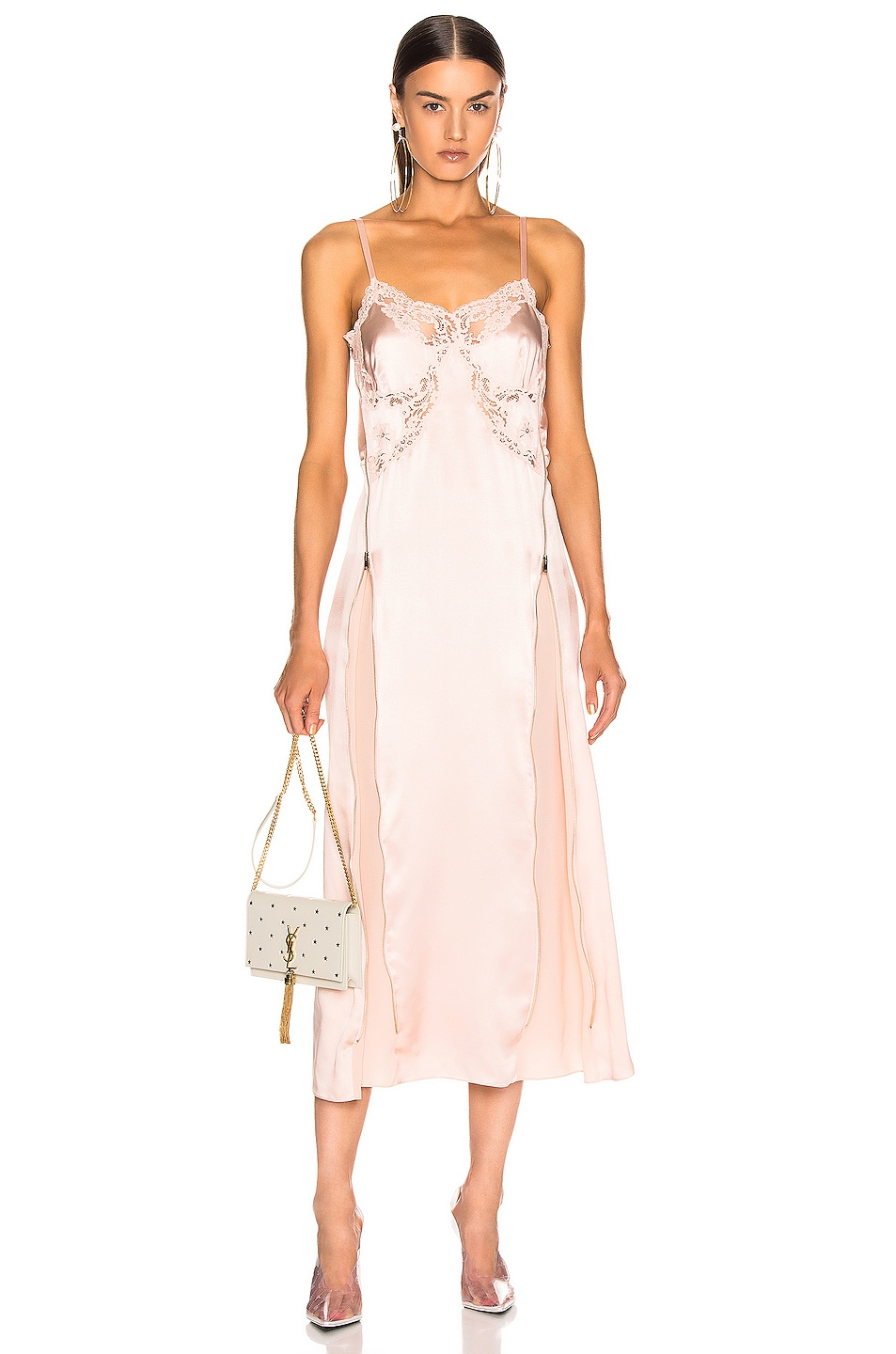 Image 1 of Stella McCartney Silk Satin Midi Dress in Chalk Pink