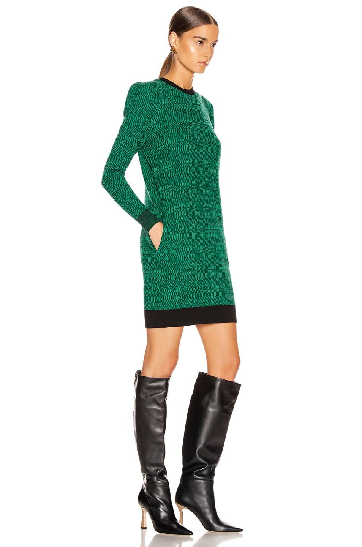 Image 2 of Stella McCartney Puff Shoulder Mini Dress in Spark Green & Black