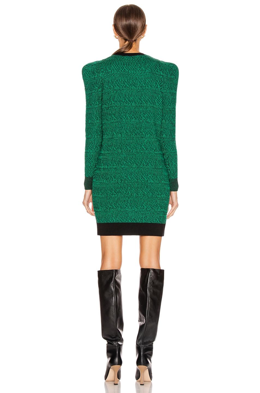 Image 3 of Stella McCartney Puff Shoulder Mini Dress in Spark Green & Black