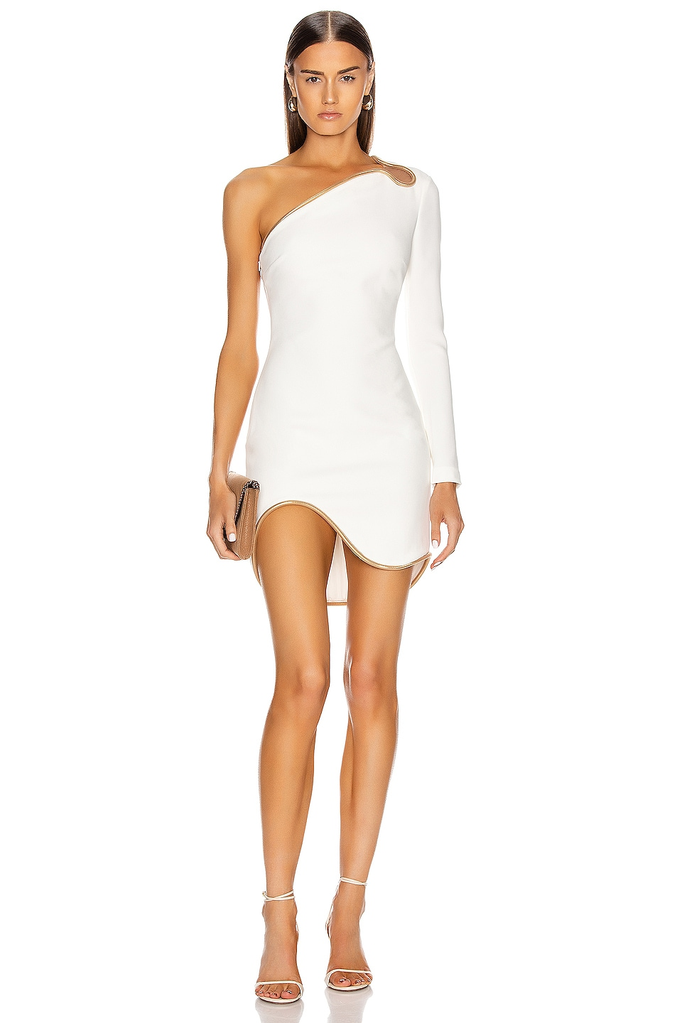 Image 1 of Stella McCartney Dianna One Shoulder Mini Dress in White