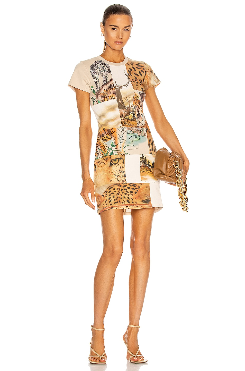 Image 1 of Stella McCartney Nature Patchwork Mini Dress in Parchment Jersey