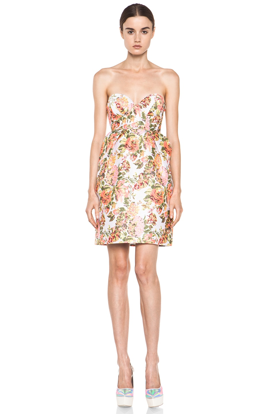 Image 1 of Stella McCartneyFloral Jacquard Dress in Coral