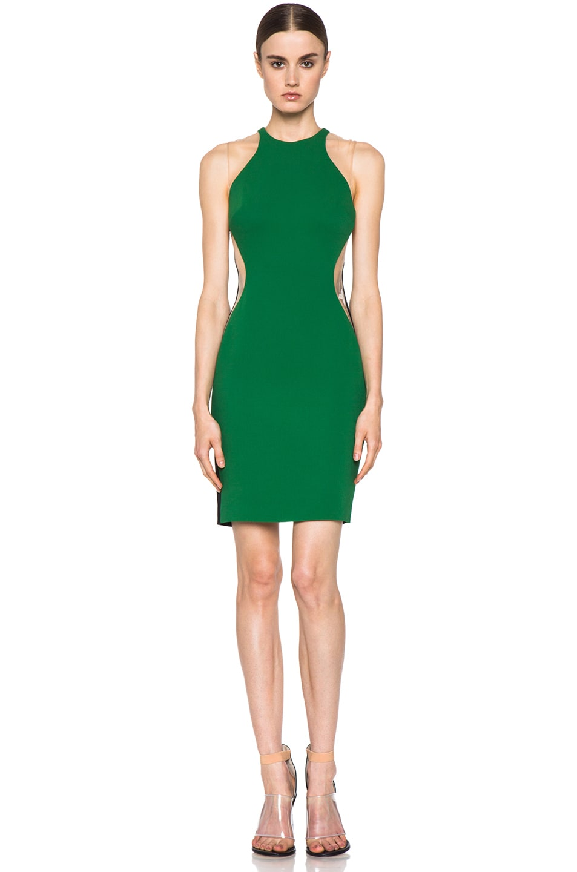Image 1 of Stella McCartney Cady Mesh Insert Viscose-Blend Dress in Fern & Black