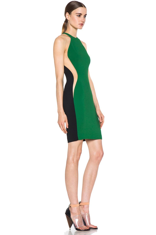 Image 3 of Stella McCartney Cady Mesh Insert Viscose-Blend Dress in Fern & Black