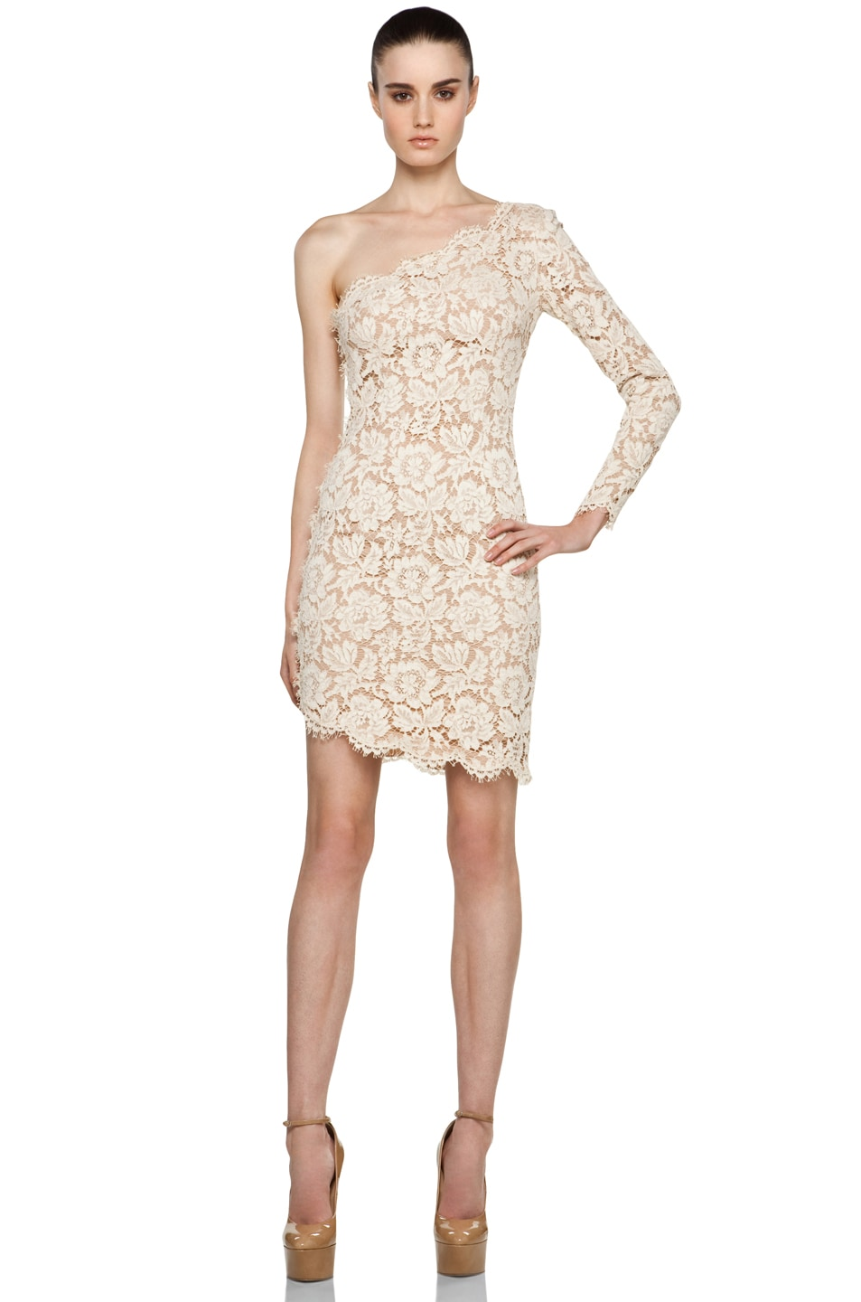 Image 1 of Stella McCartney One Shoulder Lace Dress in Cream