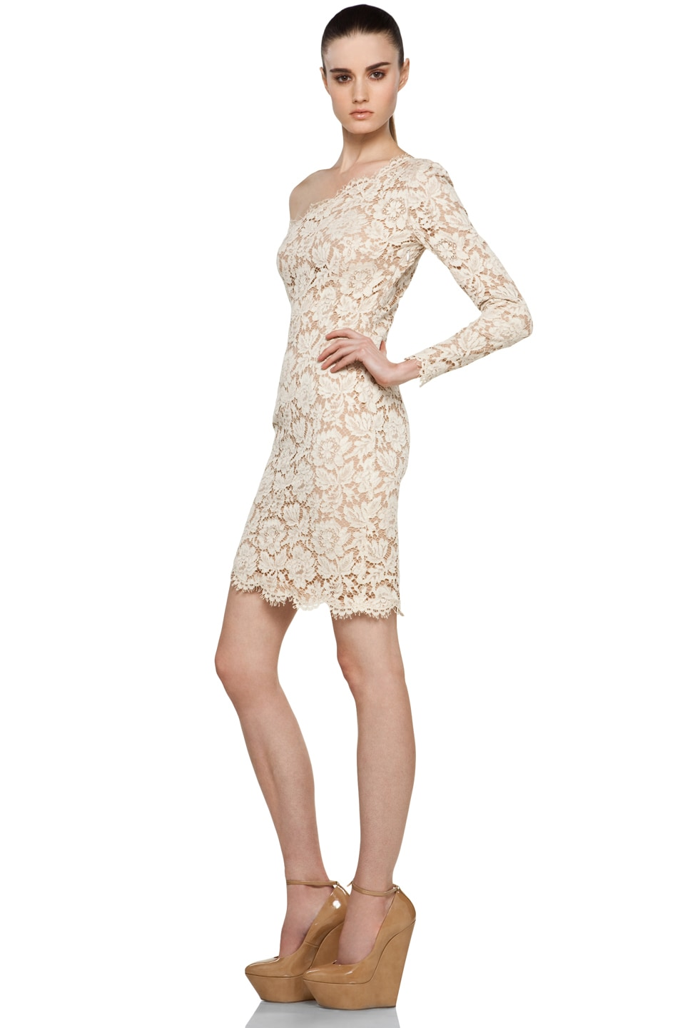 Image 2 of Stella McCartney One Shoulder Lace Dress in Cream