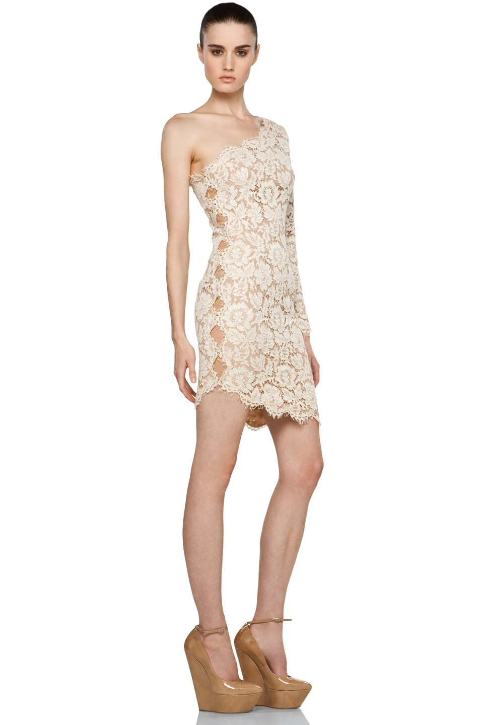Image 3 Of Stella Mccartneyone Shoulder Lace Dress In Cream