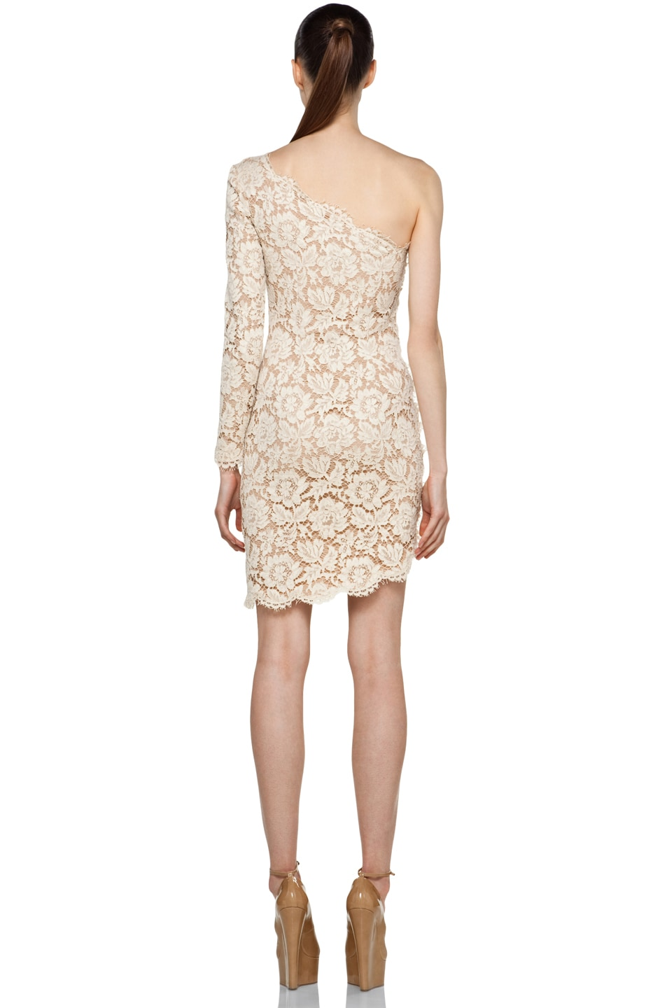 Image 4 of Stella McCartney One Shoulder Lace Dress in Cream
