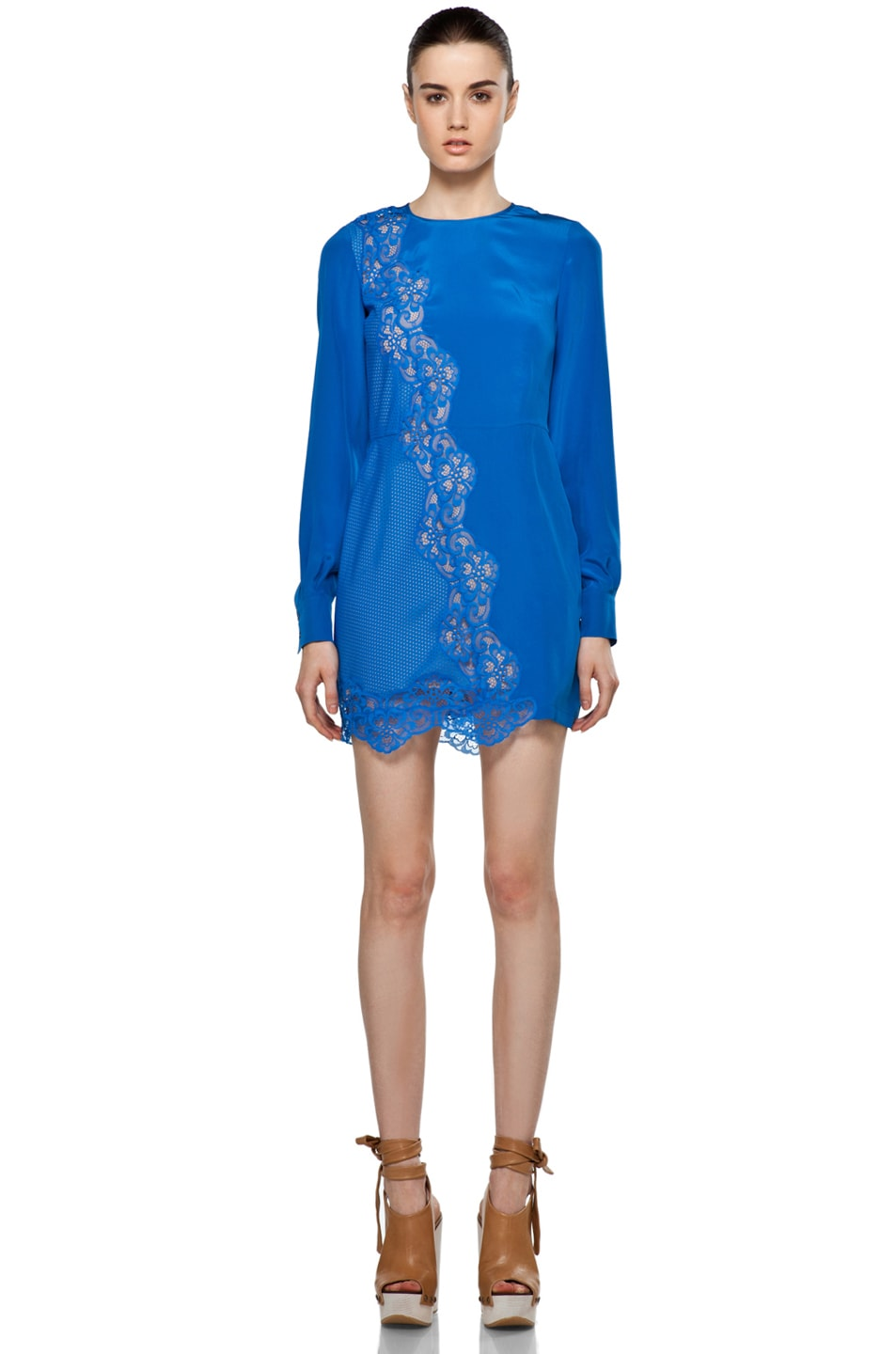 Image 1 Of Stella Mccartneysilk Lace Dress In Klein Blue