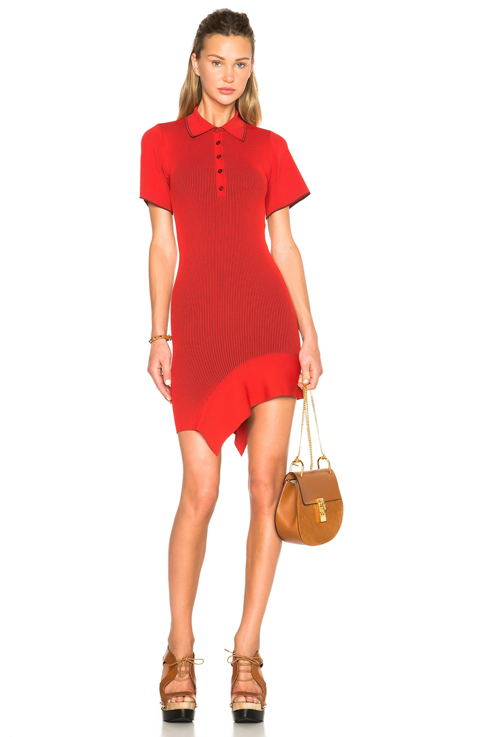 Image 1 of Stella McCartneyCut Out Dress in Chili Red & Berry