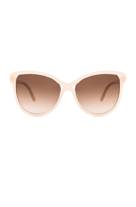 Image 1 of Stella McCartney Rounded Cat Eye Sunglasses in Opal Beige