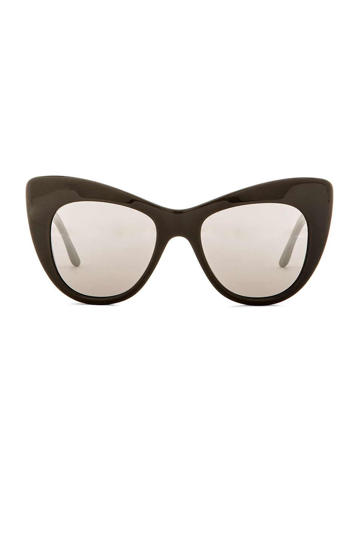 ecc000003e49 Image 1 of Stella McCartney Oversized Cat Eye Sunglasses in Grey   Silver  Mirror