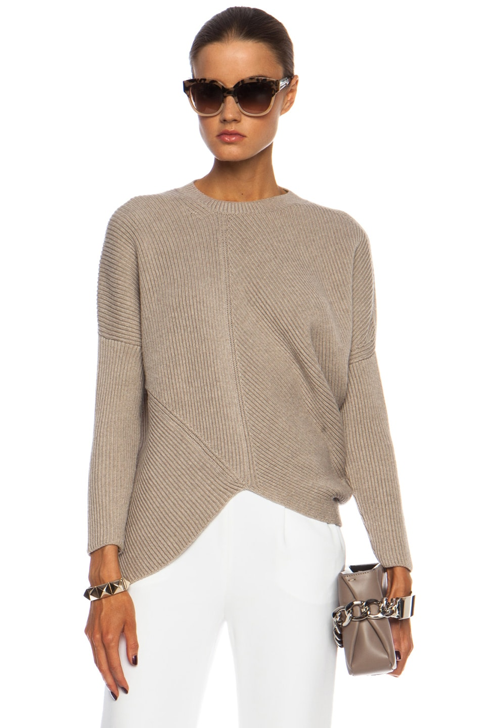 Image 1 of Stella McCartneyAsymmetric Wool Jumper in Pebble