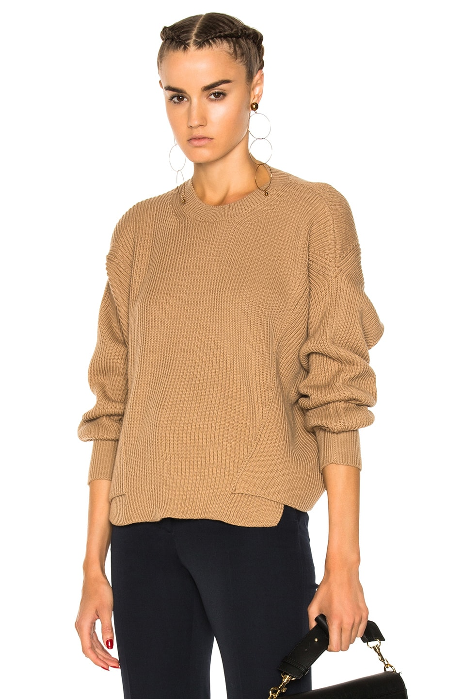 Image 1 of Stella McCartney Ribbed Crew Neck Sweater in Sable