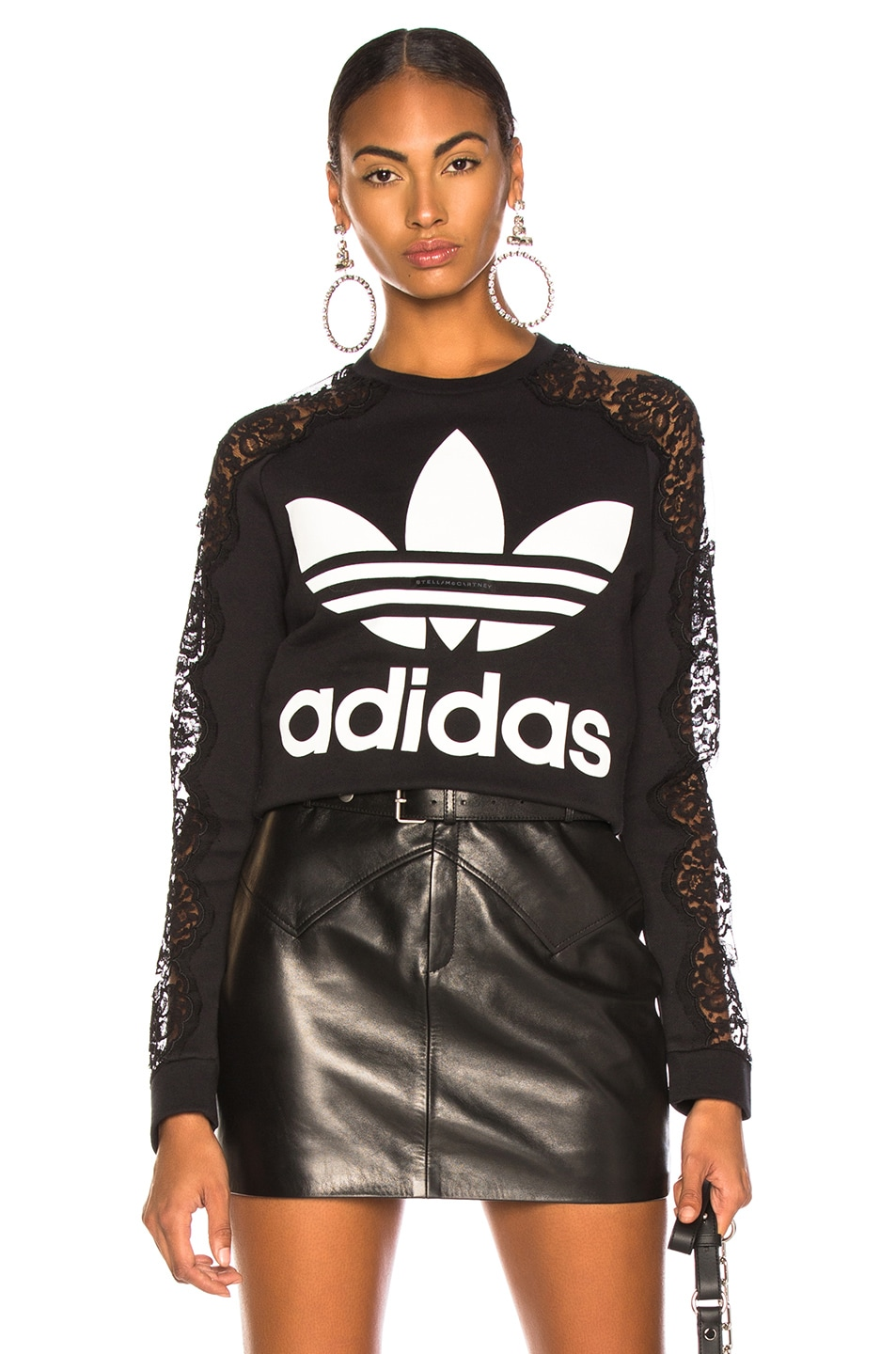 Image 1 of Stella McCartney x adidas Lace Sleeve Logo Sweatshirt in Black