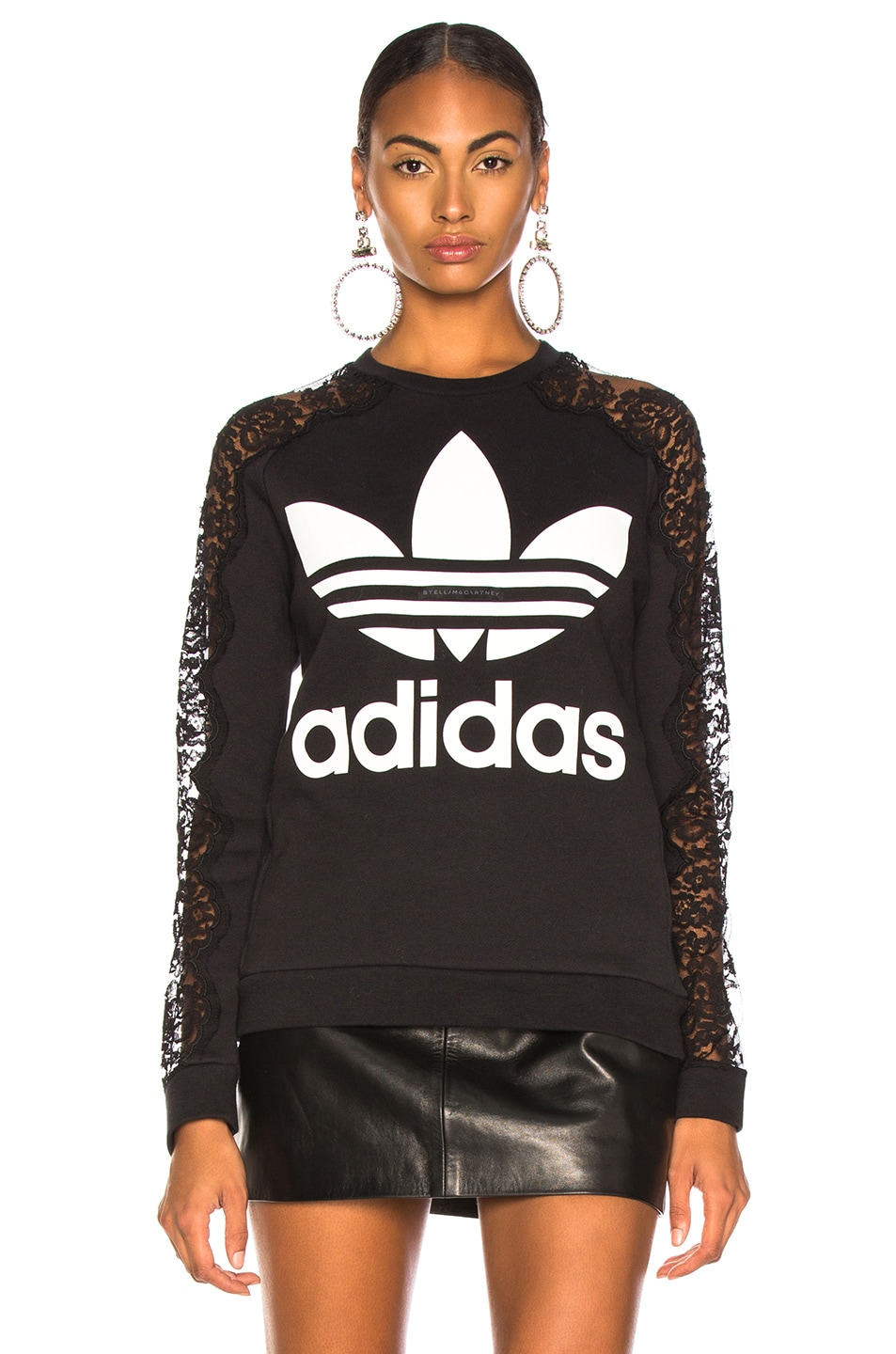 Image 2 of Stella McCartney x adidas Lace Sleeve Logo Sweatshirt in Black