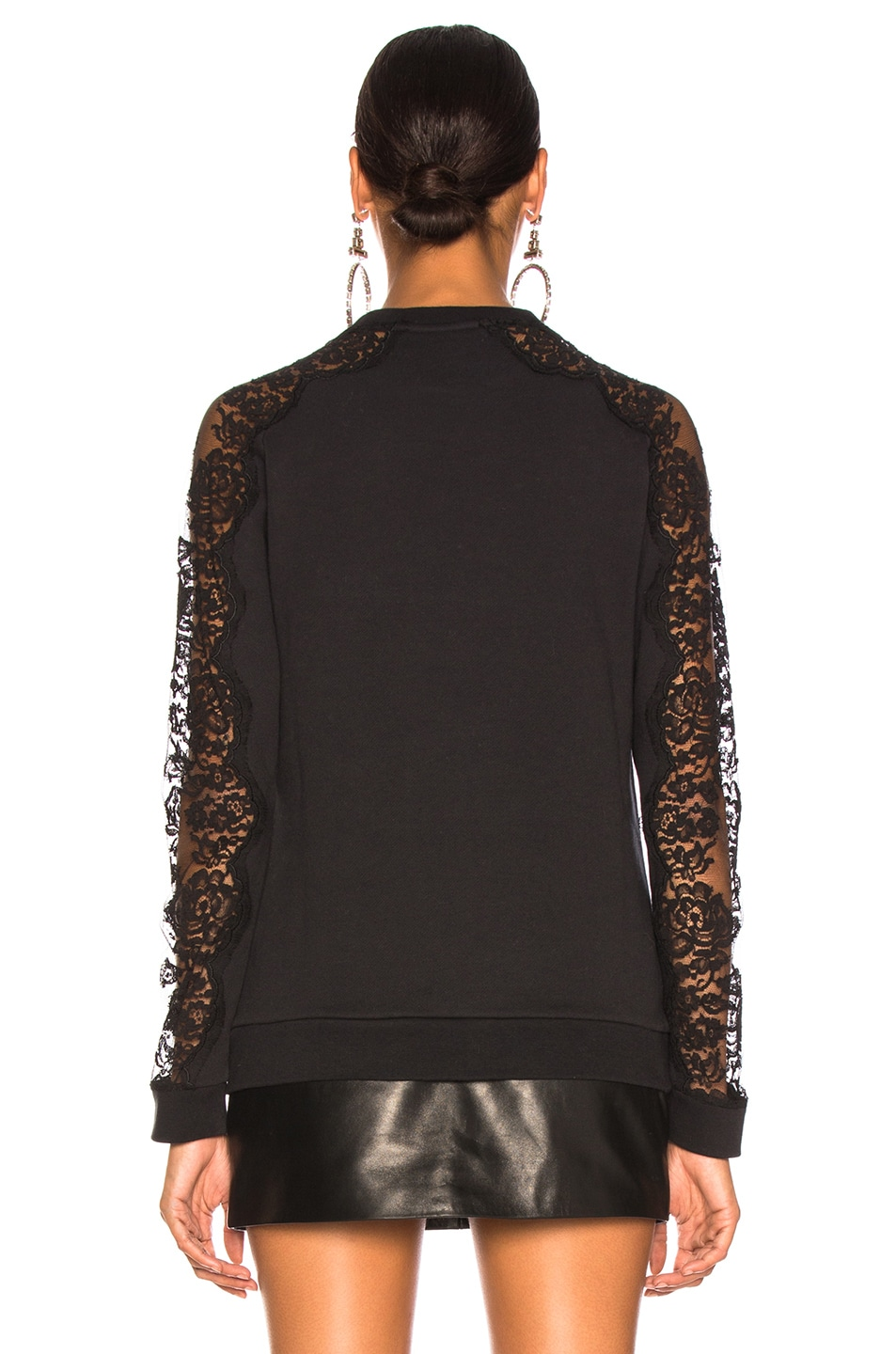 Image 4 of Stella McCartney x adidas Lace Sleeve Logo Sweatshirt in Black