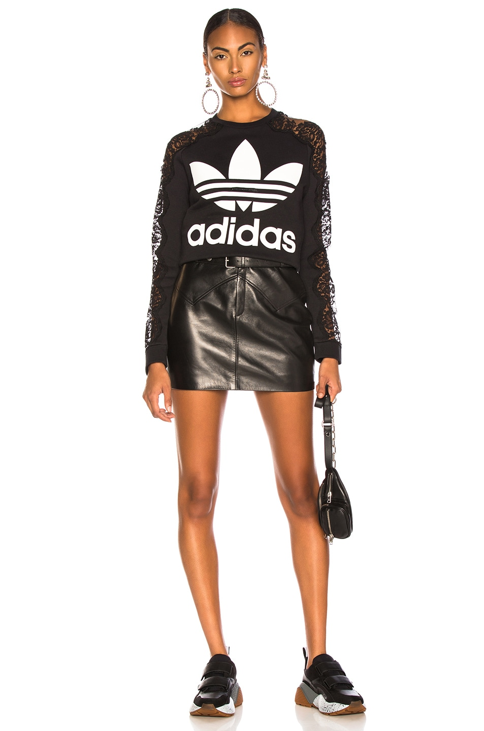 Image 5 of Stella McCartney x adidas Lace Sleeve Logo Sweatshirt in Black