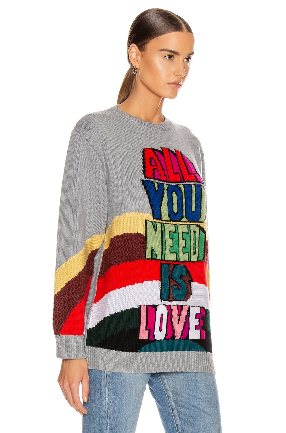 Image 2 of Stella McCartney All You Need Is Love Sweater in Grey Multicolor