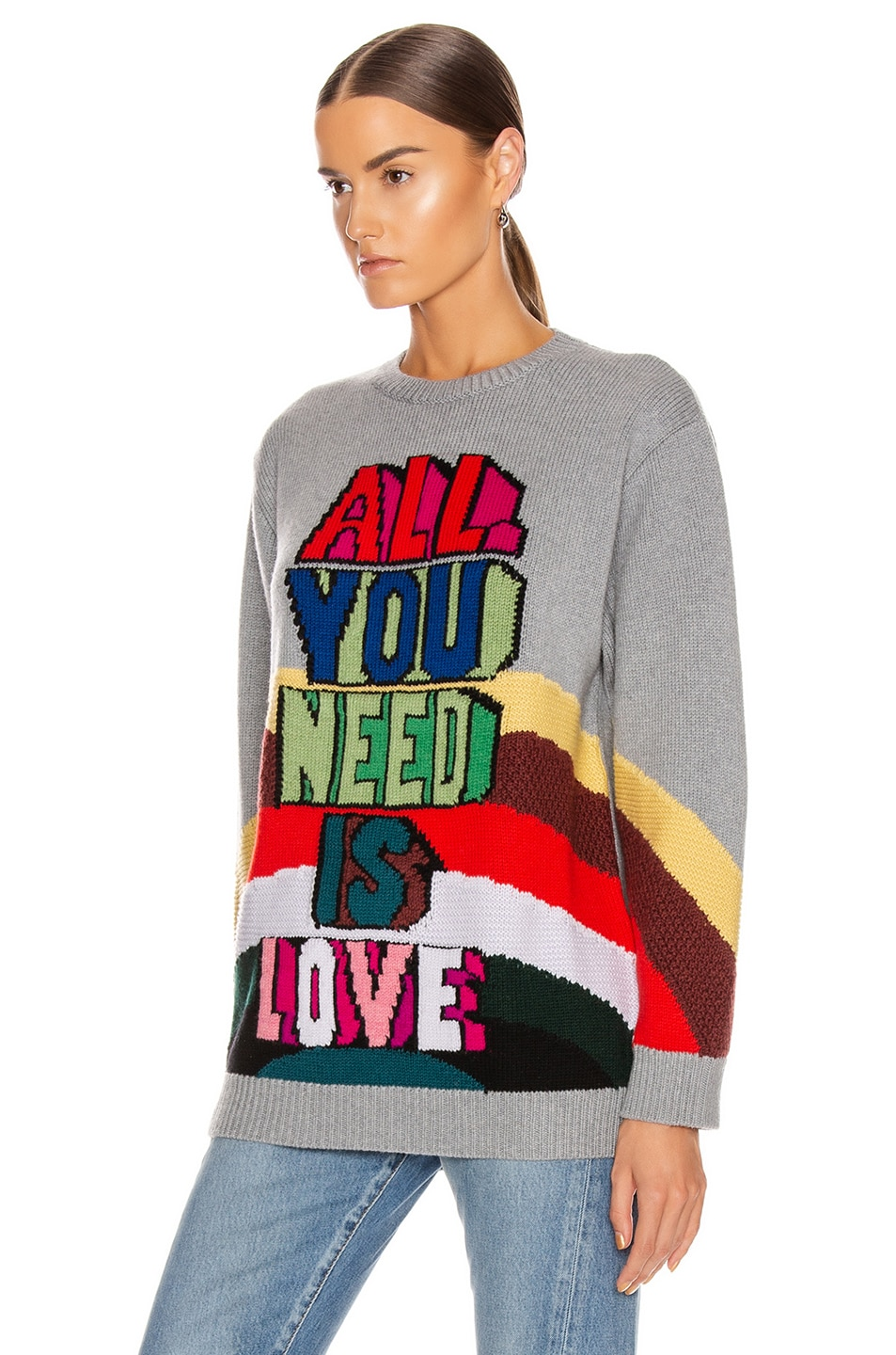 Image 3 of Stella McCartney All You Need Is Love Sweater in Grey Multicolor