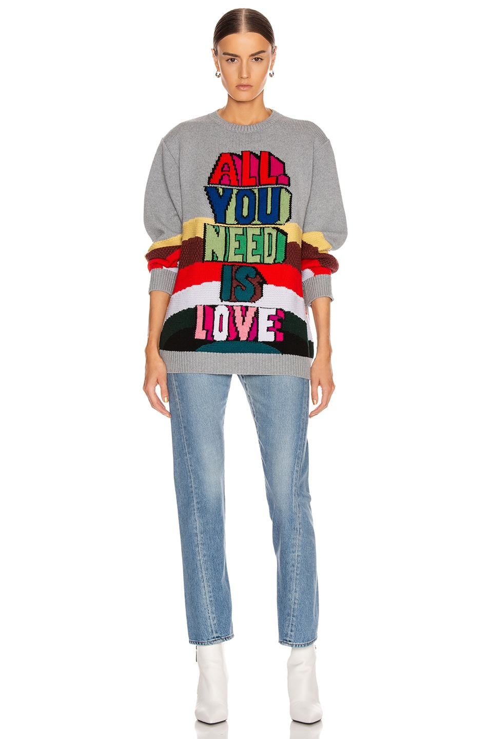 Image 5 of Stella McCartney All You Need Is Love Sweater in Grey Multicolor