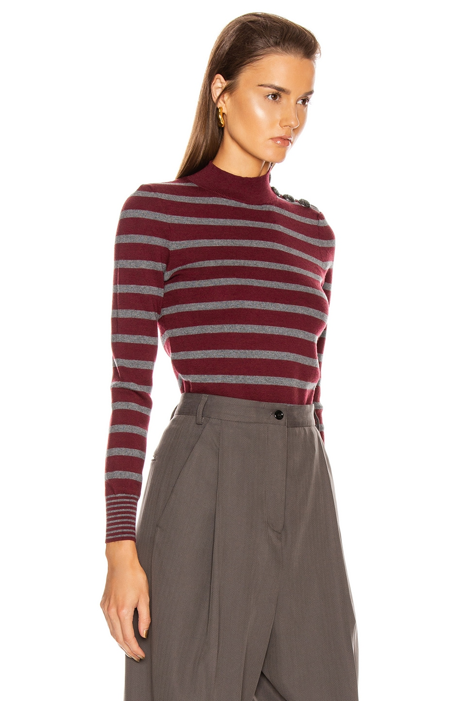 Image 2 of Stella McCartney Sailor Sweater in Burgundy & Grey