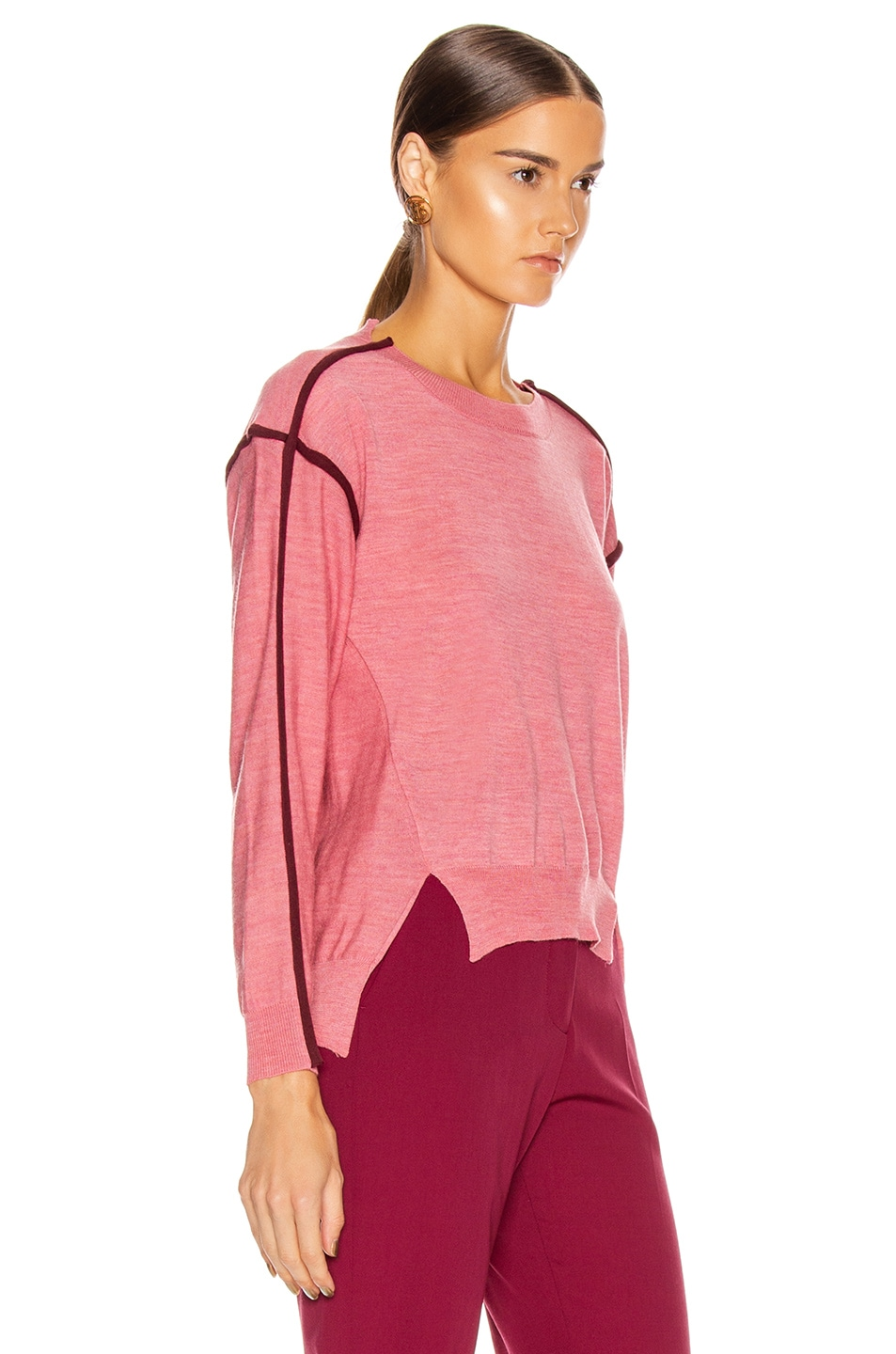 Image 3 of Stella McCartney Lightweight Sweater in Dark Pink