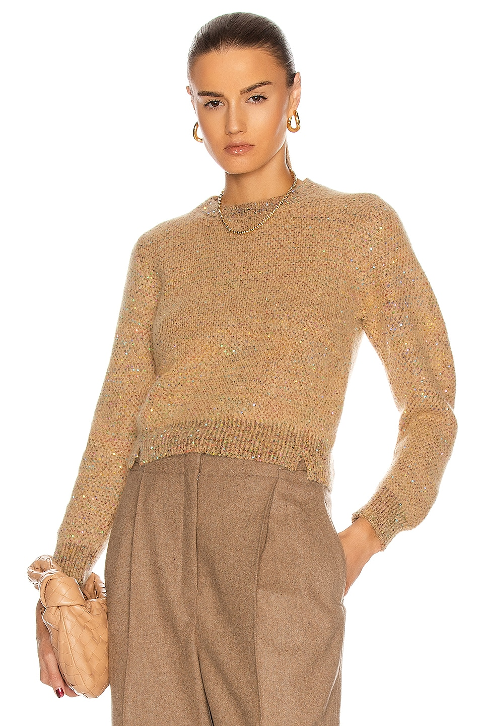 Image 1 of Stella McCartney Sequin Sweater in Camel