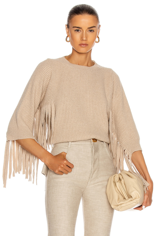 Image 1 of Stella McCartney Fringed Rib Sweater in Oat