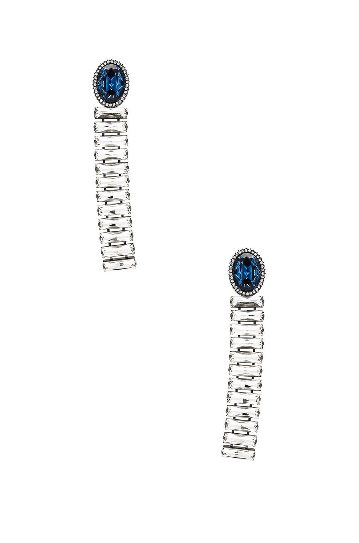Image 1 of Stella McCartney Brass & Crystal Earrings in Navy