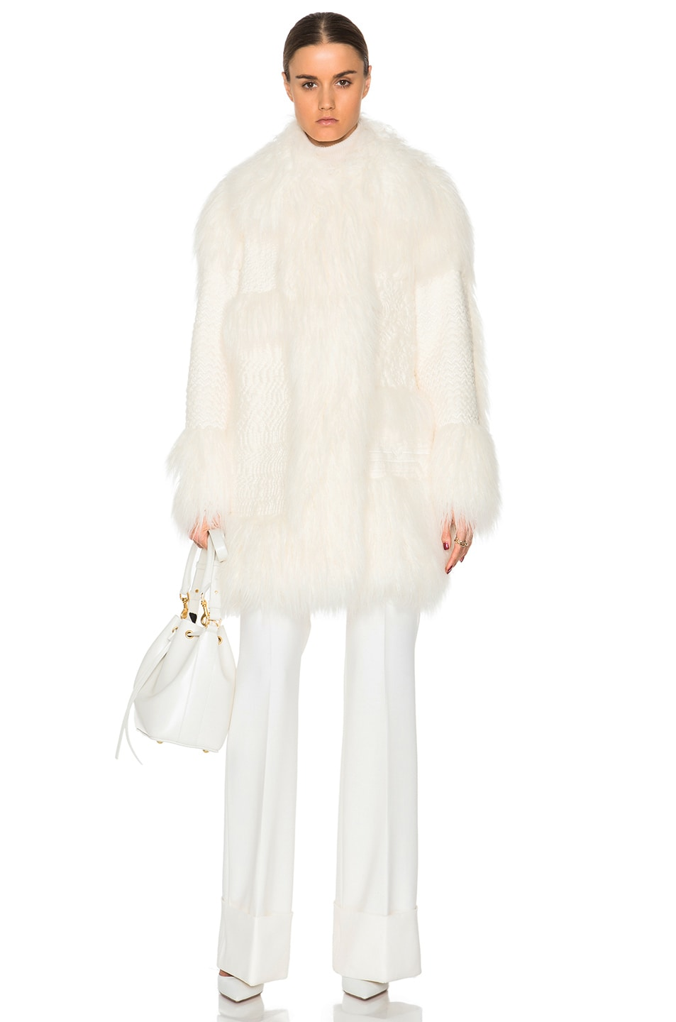 ac5c835ea9 Image 1 of Stella McCartney Ramona Faux Fur Coat in Ivory