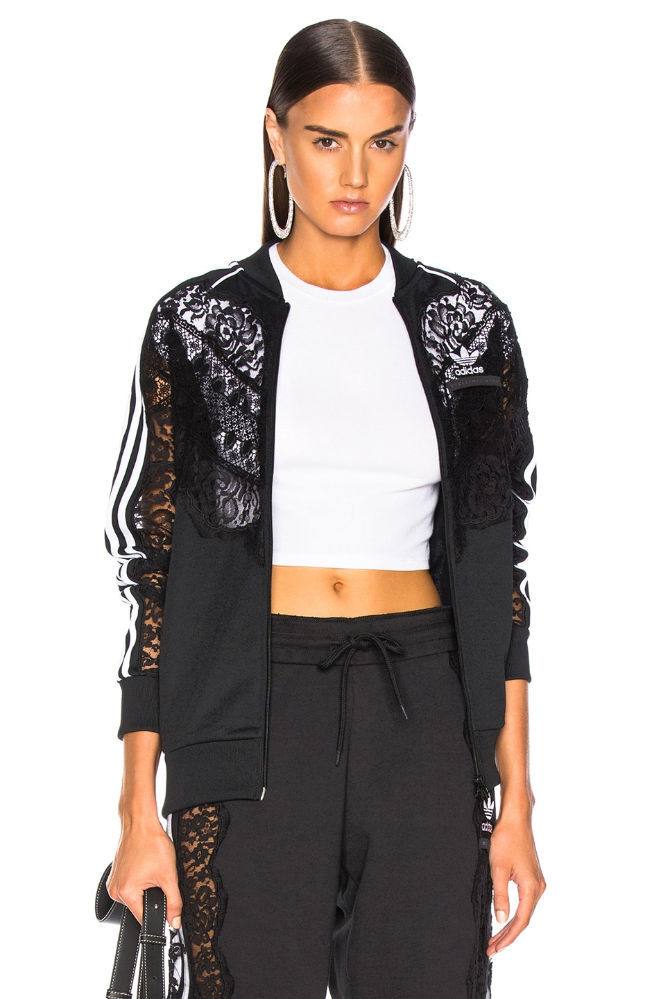 Image 1 of Stella McCartney x adidas Lace Insert Track Jacket in Black