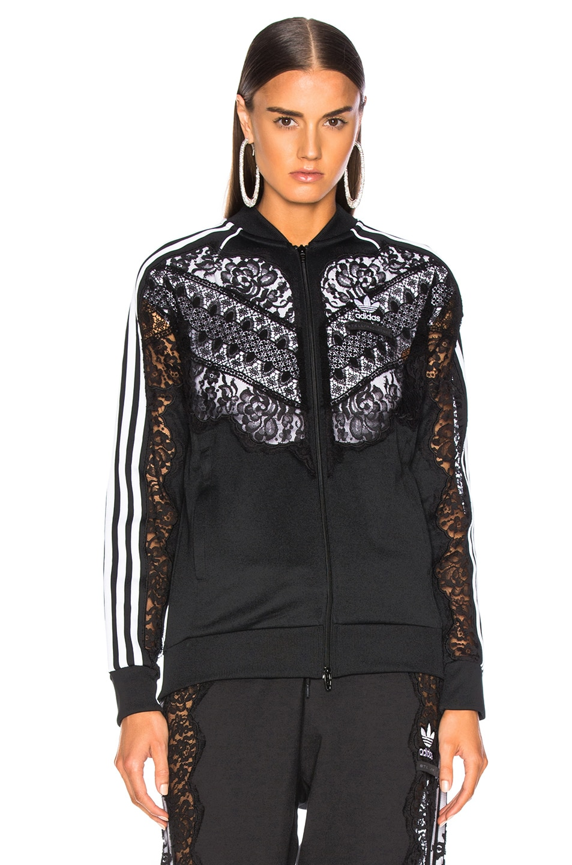 Image 2 of Stella McCartney x adidas Lace Insert Track Jacket in Black